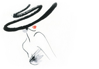 Autocollant pour porte Portrait Aquarelle Abstract woman with hat. Fashion illustration.