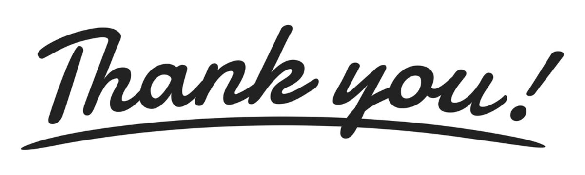 """Thank you"" Handwriting, Vector Illustration"