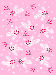 Cute Merry Christmas and Happy New year card design with pine branches, snowflakes and berries on pink background. Winter vector illustration for scrapbooking, fabrics, posters, greeting cards.