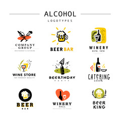 Collection of vector flat alcohol beverages logo set isolated on white background. Hand drawn drink elements, icons. Perfect for restaurant, cafe, catering bars and pubs insignia banners, symbols.