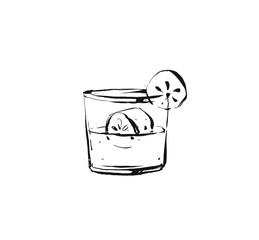 Hand drawn vector abstract graphic artistic cooking ink sketch illustration drawing of cocktail drink in glass isolated on white background