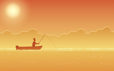 man on fishing boat in flat icon design with sunset sky background