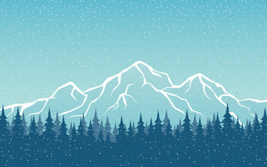 snowing Mountain Peaks Landscape and Pine Forest in flat icon design