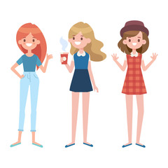 Vector young girls illustration