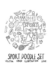 Sport fit doodle illustration circle form line sketch style eps10