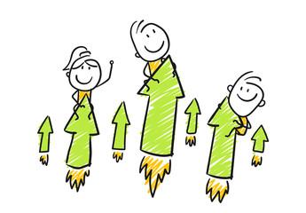 Strichfiguren / Strichmännchen: Startup, Raketen, Pfeile. (Nr. 185)