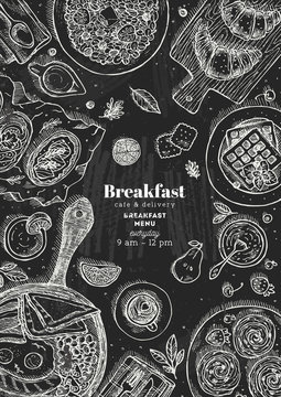 Chalkboard vertical breakfast top view illustration. Various food background. Engraved style illustration. Hero image. Vector illustration