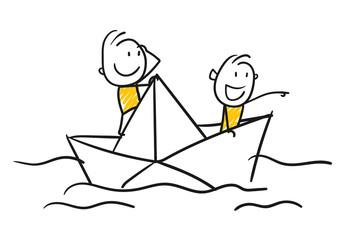 Strichfiguren / Strichmännchen: Papierboot, schwimmen. (Nr. 186)