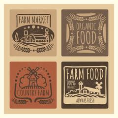 Grunge organic food farm market vintage labels design