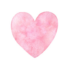 Hand painted pink watercolor heart illustration isolated on the white background. Saint Valentine's Day decoration.