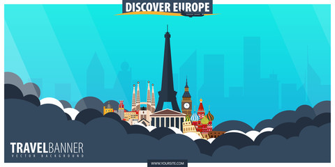 Travel to Europe. Travel and Tourism poster. Vector flat illustration.