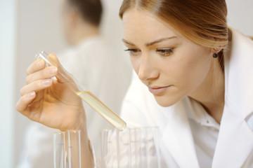 Wissenschaftler oder Laborant mit Reagenzglas bei Versuch und Forschung im Labor
