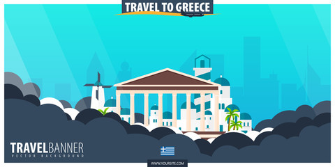 Canvas Prints Turquoise Travel to Greece. Travel and Tourism poster. Vector flat illustration.