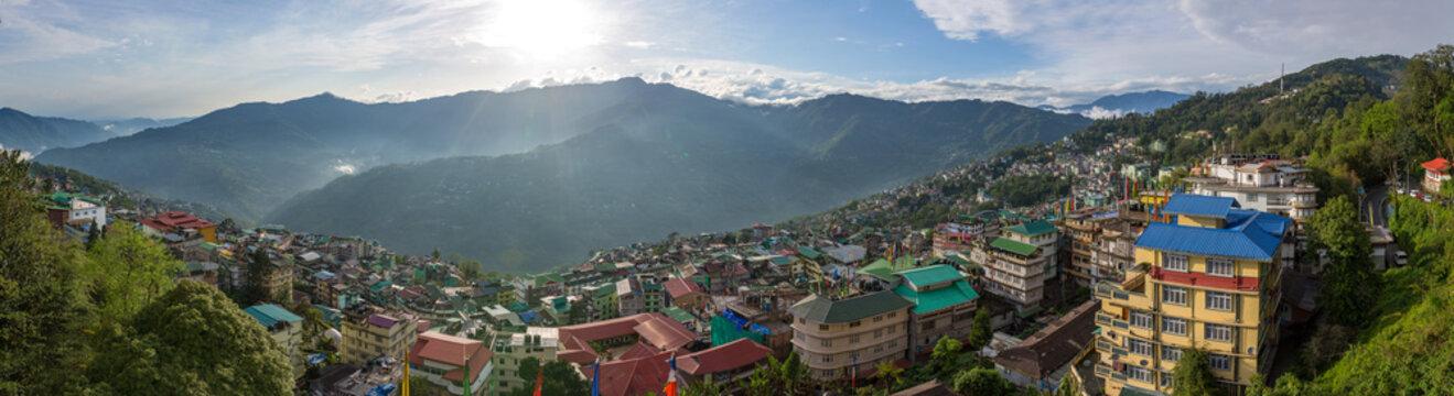 Beautiful panorama of the Gangtok city, capital of Sikkim state, Northern India.