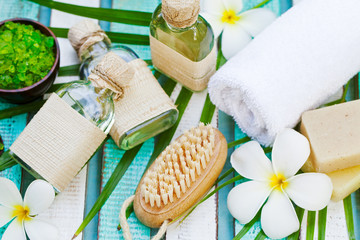 Spa and wellness massage setting with towel