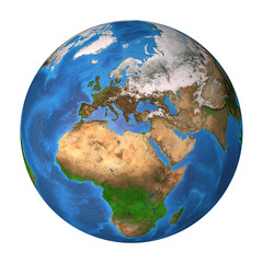 Planet Earth. Europe, Africa and Asia.