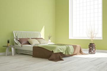 Idea of green minimalist bedroom. Scandinavian interior design. 3D illustration