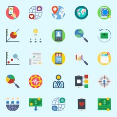 icons set about Marketing. with settings, user, worldwide, smartphone, line chart and line graph