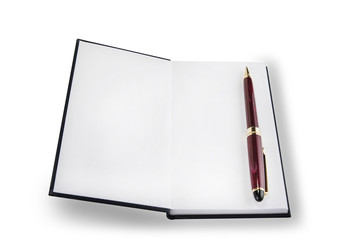 Opened notepad with pen or pencil on the white background