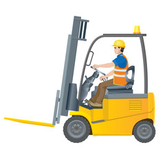 Electric forklift driven by a worker in overalls. Vector illustration on white background