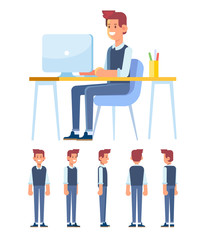 Office worker guy. Young man is working on computer. Front, side, back, 3/4 view character.  Flat vector illustration.