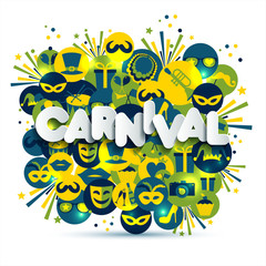 Bright vector carnival and sign Carnival illustration on multicolors icons. Carnival, spring, text of paper style.