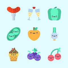 Icons about Food with scallion, toast, grapes, ice cream, peach and hot dog