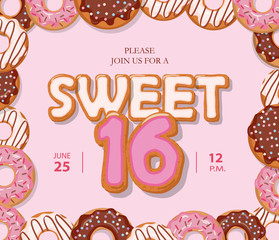 Sweet 16 birthday card. Cute cartoon letters and donut frame. Pastel pink colors.