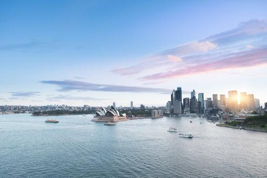 Top view Sydney Australia city skyline at circular quay ferry terminal with cloudy blue sky