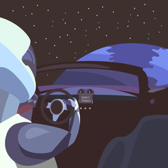 Astronaut in the car in the middle of space against the backdrop of the planet, the car in space