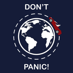 Logo of car over the planet, slogan Dont Panic