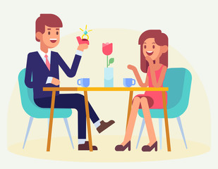 Happy Couple sitting at table in restaurant. Man making proposal of marriage. Happy valentine's day.  Couple in love. Flat Vector illustration.