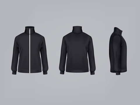 Sport jacket or long sleeve black sweatshirt vector illustration 3D mockup model template front, side and back view. Isolated sportswear apparel or modern unisex sports clothing with zipper fastener