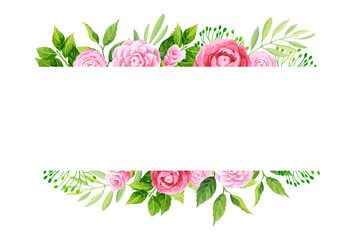 Flowers frame template. Vector illustration.