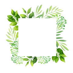 Green leaves frame template.  Vector illustration.