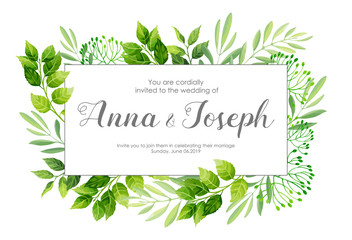 Wedding invitation with green leafs border. Vector illustration.