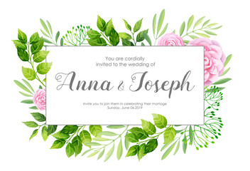 Wedding invitation with camellia flowers. Vector illustration.