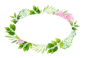 Flowers frame template. Vector illustration.