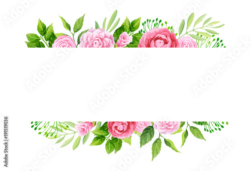 Flowers frame template. Vector illustration.\