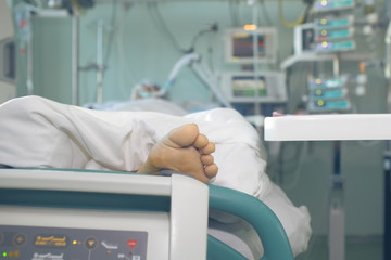 Patient in serious condition connected to the life support devices
