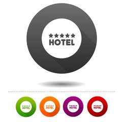 Five star Hotel icon. Travel symbol sign. Web Button.