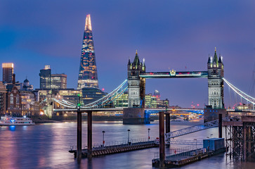 London skyline at night with Tower Bridge and the Shard