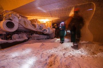 Underground salt ore mine shaft tunnel gallery continuous miner machine