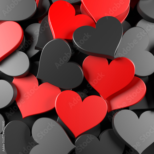 Black And Red Hearts Background Concept For Valentine S Day