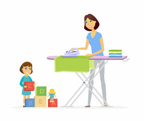 Young woman irons clothes - cartoon people characters isolated illustration