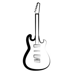 Electric guitar outline. Musical instrument