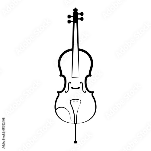 Isolated Cello Outline Musical Instrument