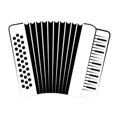 Isolated accordion outline. Musical instrument