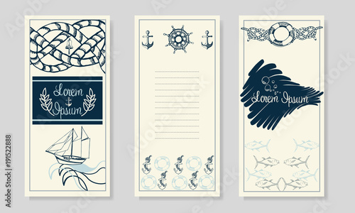 Nautical booklet design summer sea shells banner design hand nautical booklet design summer sea shells banner design hand drawn etching style place pronofoot35fo Images