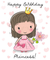 Happy Birthday Card with little Princess